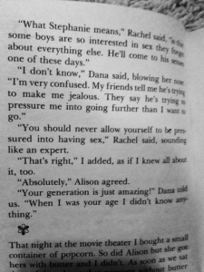 According to my OK friend, Bobbie, this is from page 228. Plenty more references to making out, being called a 'slut', and other inappropriate things for an 8 year old.