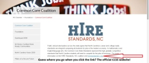 The NC Chamber of Commerce's Common Core Coalition homepage looks like this now..no more nasty letters, I guess.
