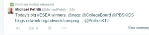 Here's the link to the pro CCSS, Gates funded blog that Petrelli was tweeting about. http://blogs.edweek.org/edweek/campaign-k-12/2015/04/senate_education_committee_con_1.html#