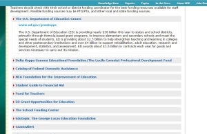 To see the entire list of those granting funds for SDE: http://staffdevelopmentforeducators.com/About-SDE/Funding-Resources