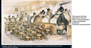 While this cartoon was depicted a U.S. Congress run by monopolists, it can easily resemble the 'CCSS Machine' running education.