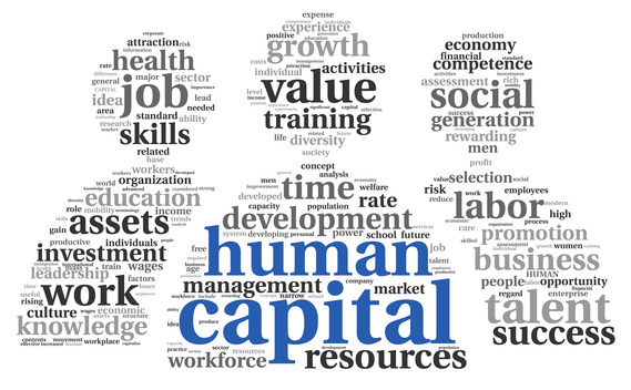 Human capital concept in tag cloud