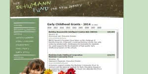 Grants for Early Education can be found: http://foundationcenter.org/grantmaker/schumann/early_childhood.html